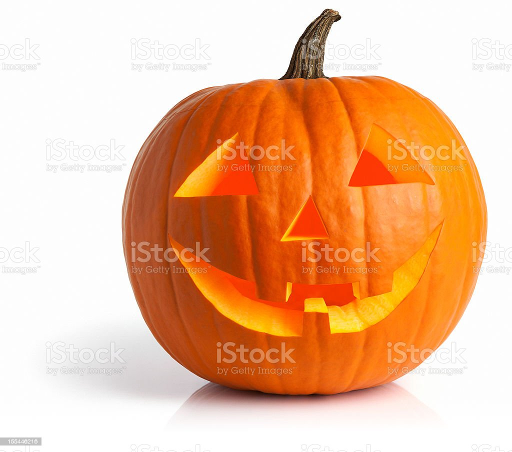 Illuminated Inside Glow Jack O' Lantern Pumpkin Isolated On White stock photo