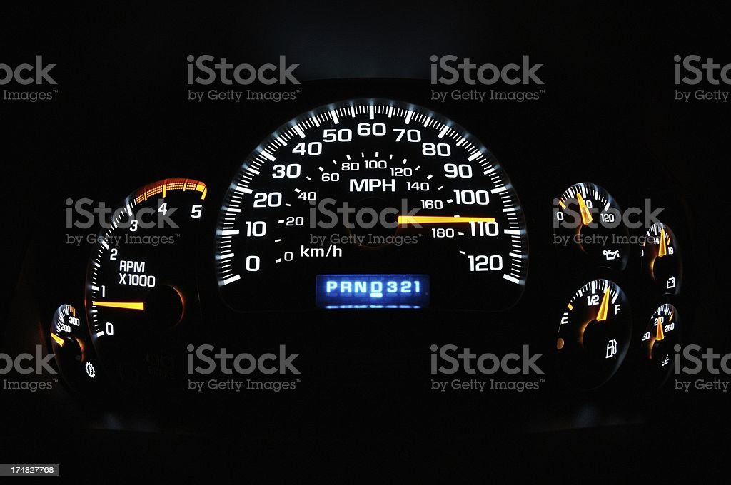 Illuminated istruement panel with high speed and copy space royalty-free stock photo