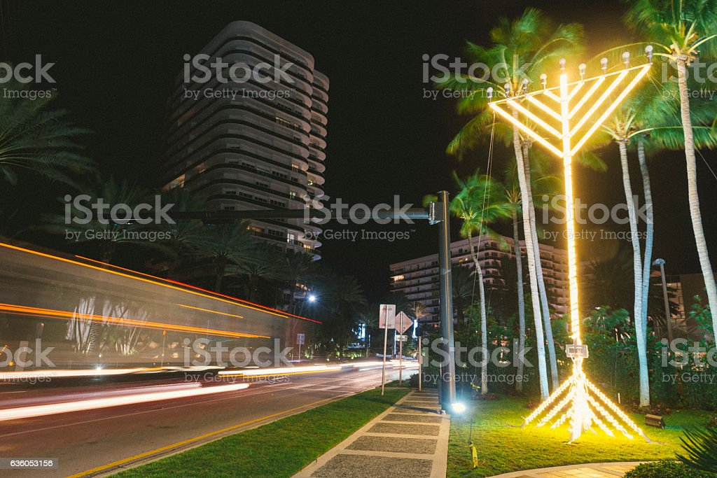 Illuminated Jewish Menorah Hanukkah Tradition Collins Avenue Miami Florida stock photo