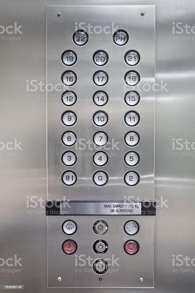 Illuminated lift button close-up stock photo