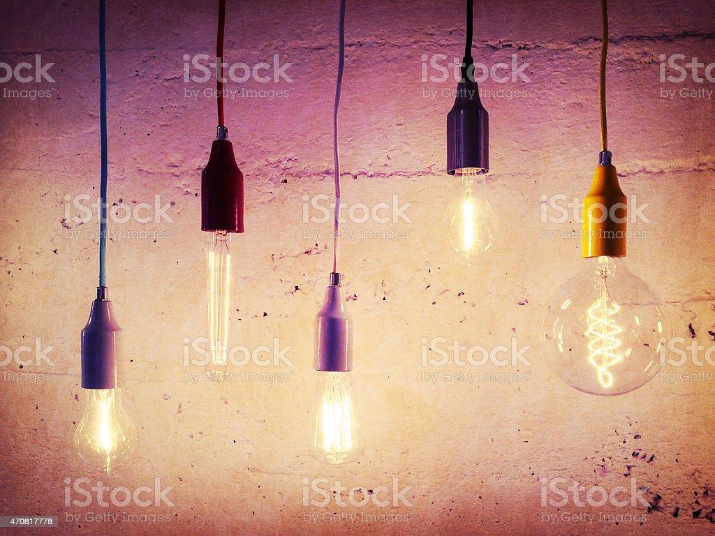 Illuminated light bulbs stock photo