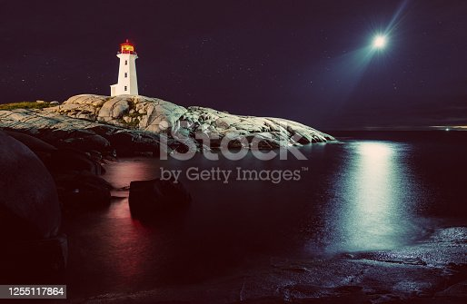 Peggy's Cove Lighthouse is lit by a strange light in the sky. Long exposure with drone light painting.
