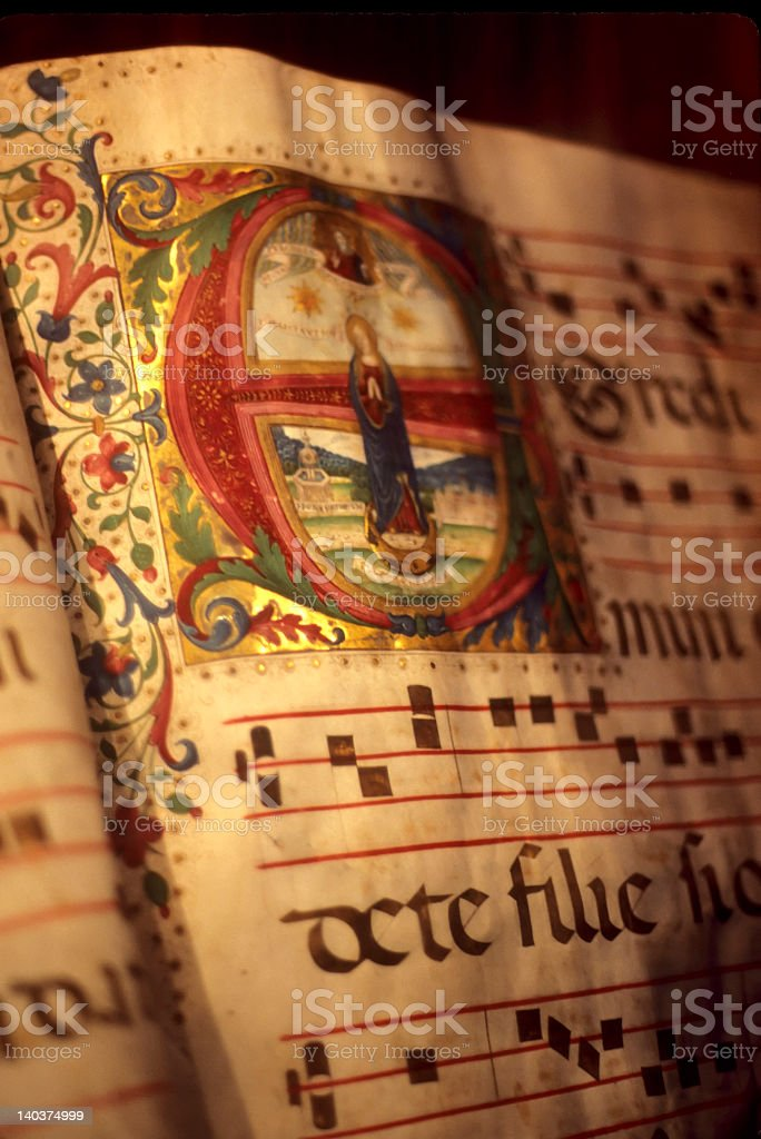 Illuminated manuscript stock photo