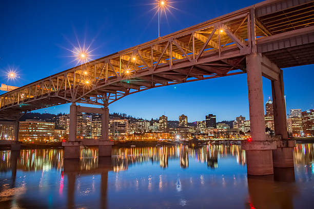 Illuminated Marquam Bridge Portland Skyline Oregon Willamette River Evening HDR stock photo