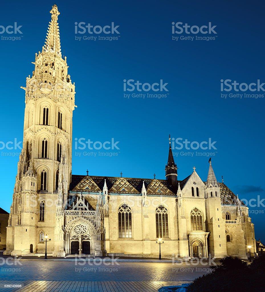 Illuminated Matthias church  in Budapest, Hungary royalty-free stock photo