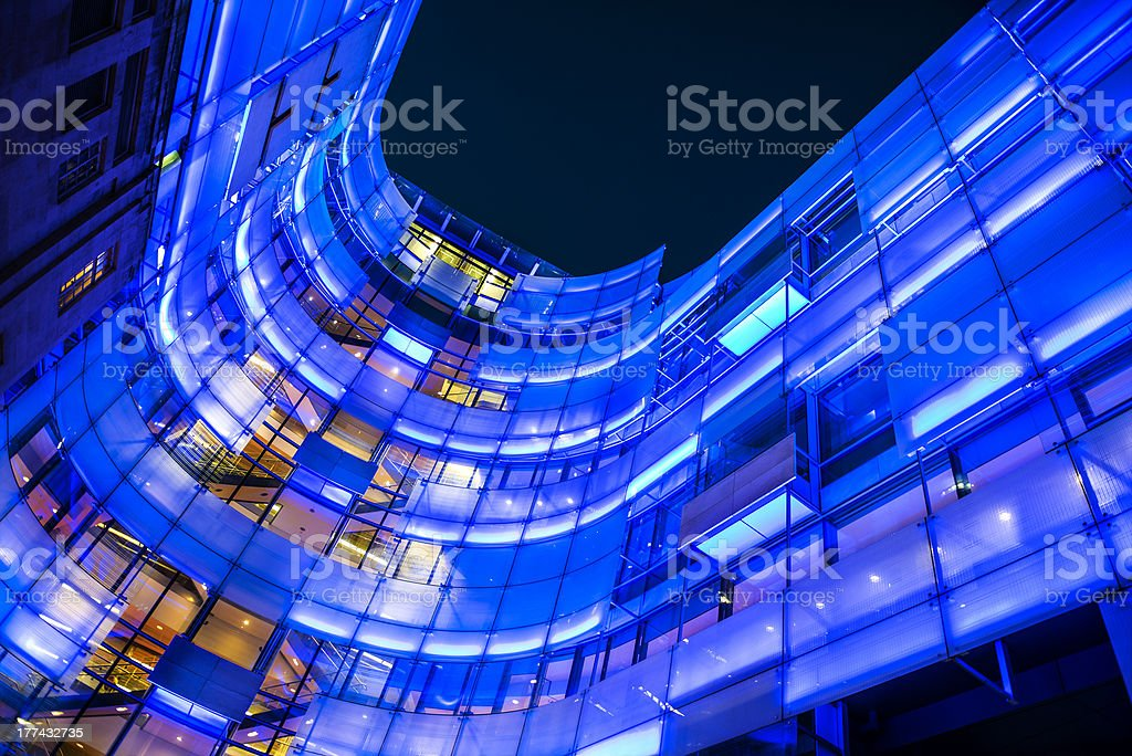 Illuminated Modern Building of BBC London Headquarters at Night, UK stock photo