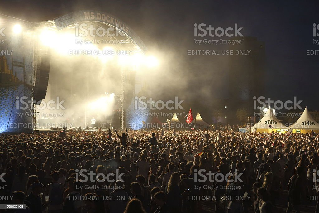 illuminated music festival stage stock photo