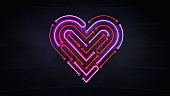 istock illuminated neon heart shape as integrated circuit background 1130897930