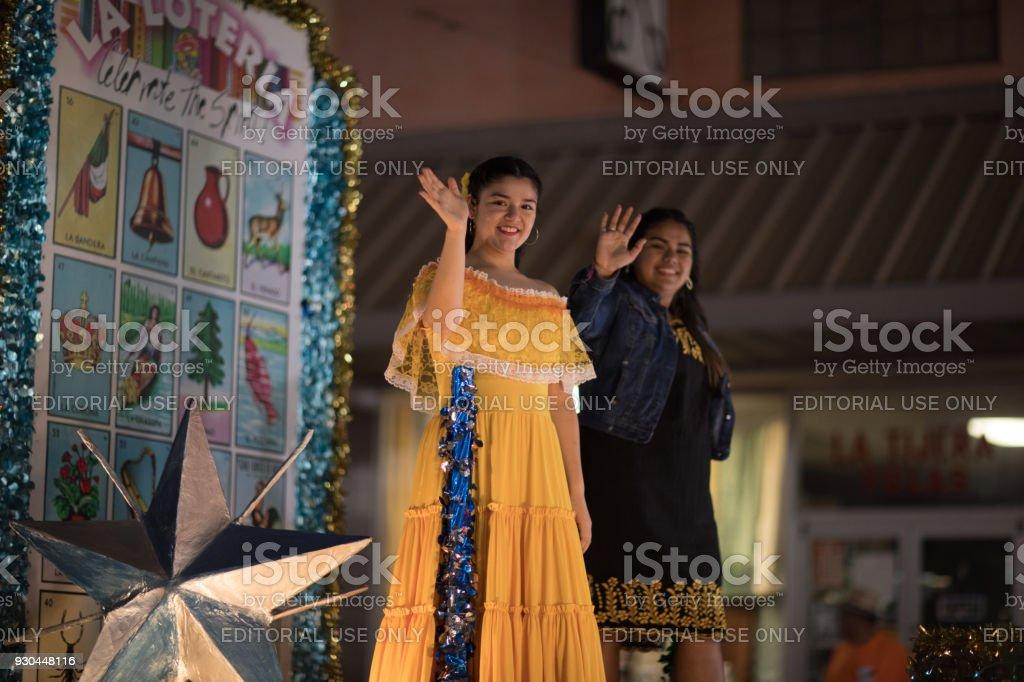 Illuminated night Parade 2018 stock photo