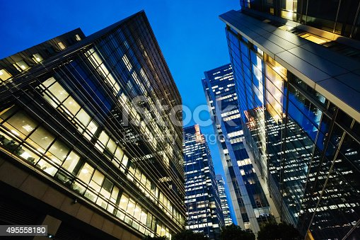 istock Illuminated office buildings Canary Wharf, London at Night 495558180