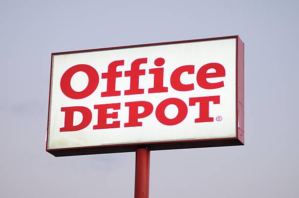 Illuminated Office Depot sign stock photo