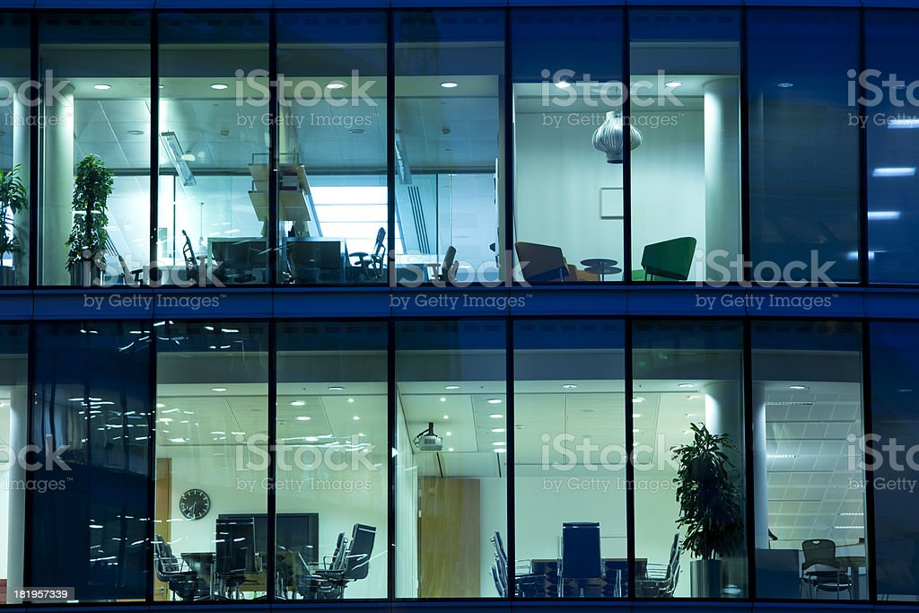 Illuminated Offices at Night in London royalty-free stock photo