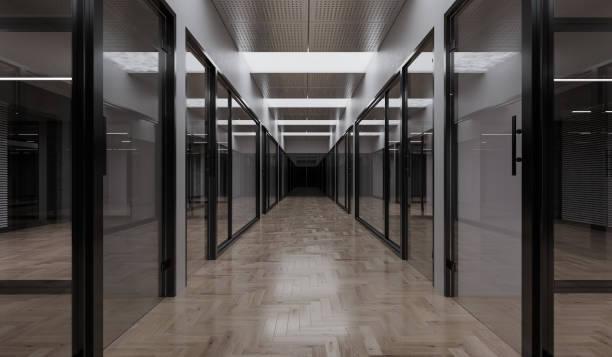 Beleuchtete Büros in der Nacht – Foto