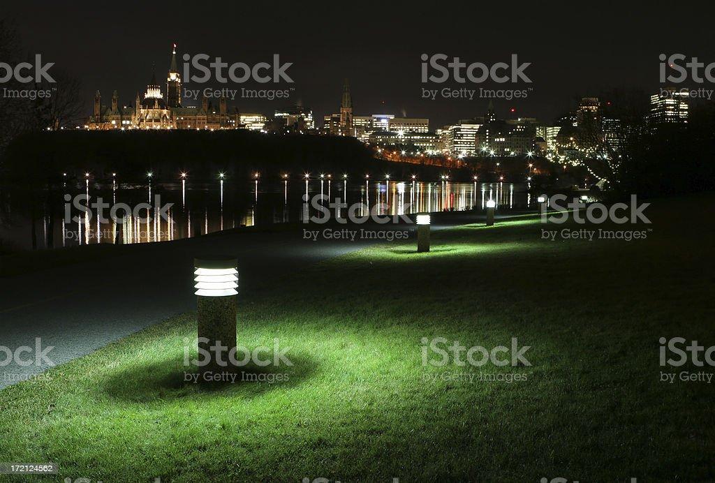 Illuminated Ottawa City at Night royalty-free stock photo