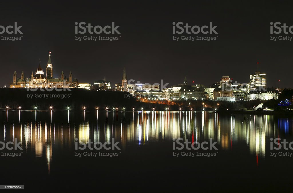Illuminated Ottawa City Shores at Night royalty-free stock photo