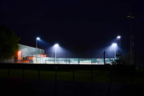 Illuminated Outdoor Soccer Yard stock photo