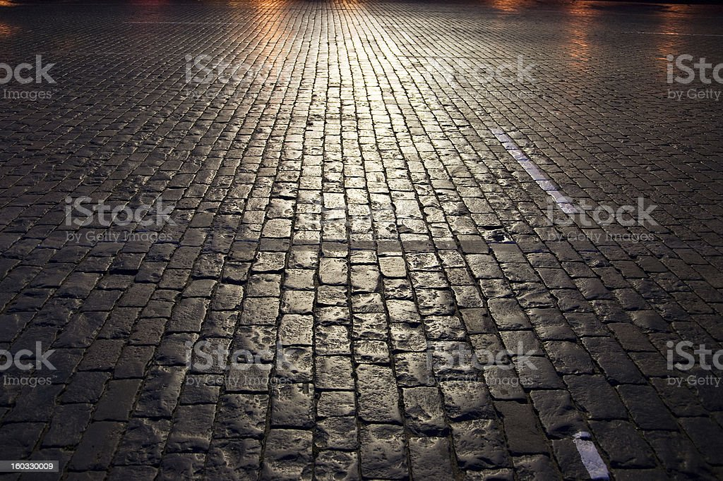 Illuminated paving stone stock photo