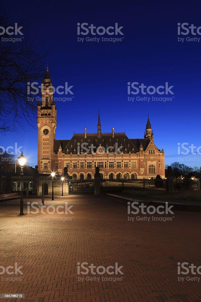 illuminated Peace Palace in The Hague stock photo