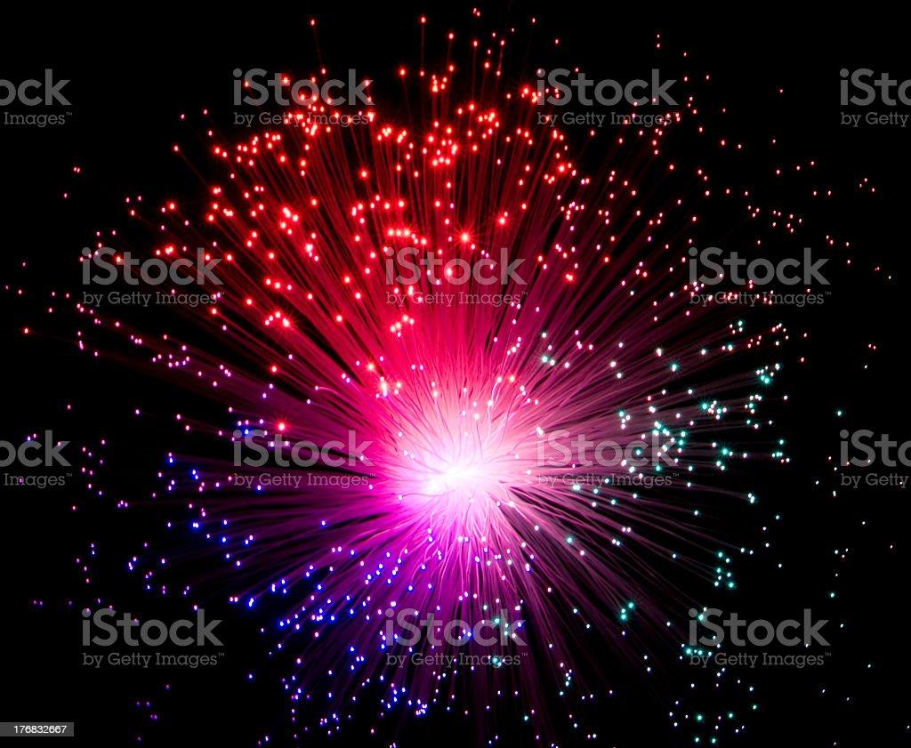 illuminated Plastic optical fiber stock photo