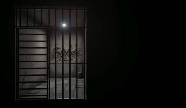 Beleuchtete Gefängniszellenrendering mit Kopierraum – Foto