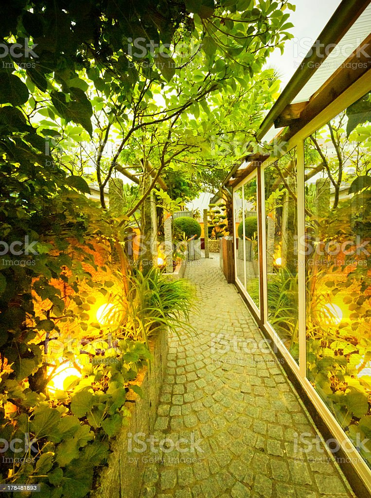 Illuminated Private Garden stock photo