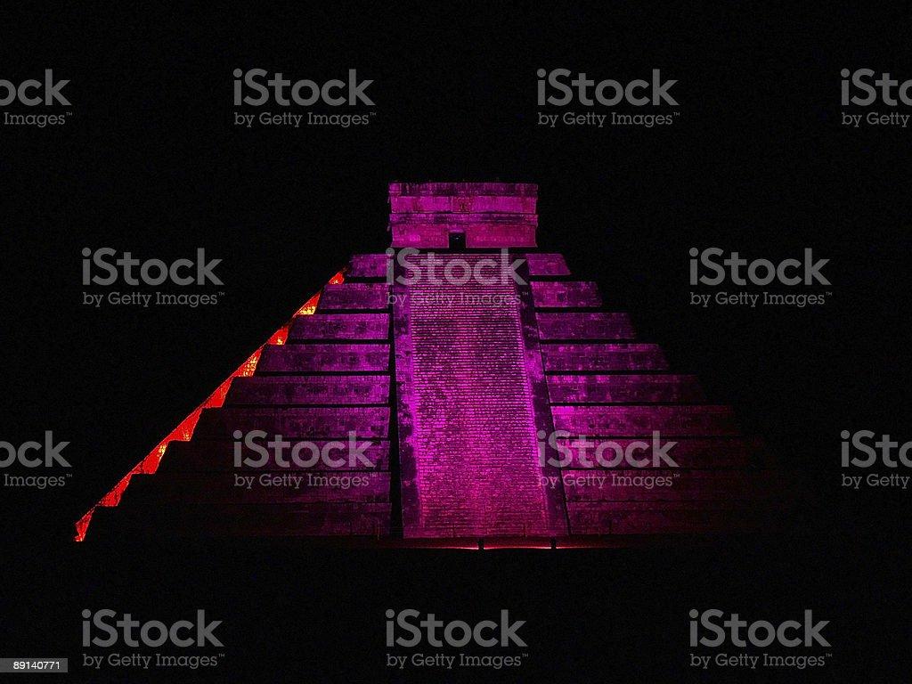 illuminated pyramid at Chichen Itza royalty-free stock photo
