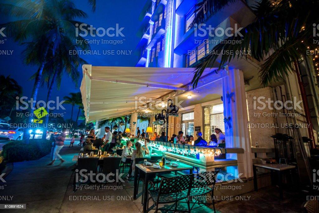 Illuminated Restaurants On Famous Ocean Drive Miami Beach