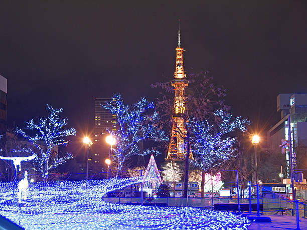 illuminated sapporo tv tower and central park in the new year night - sapporo stock photos and pictures