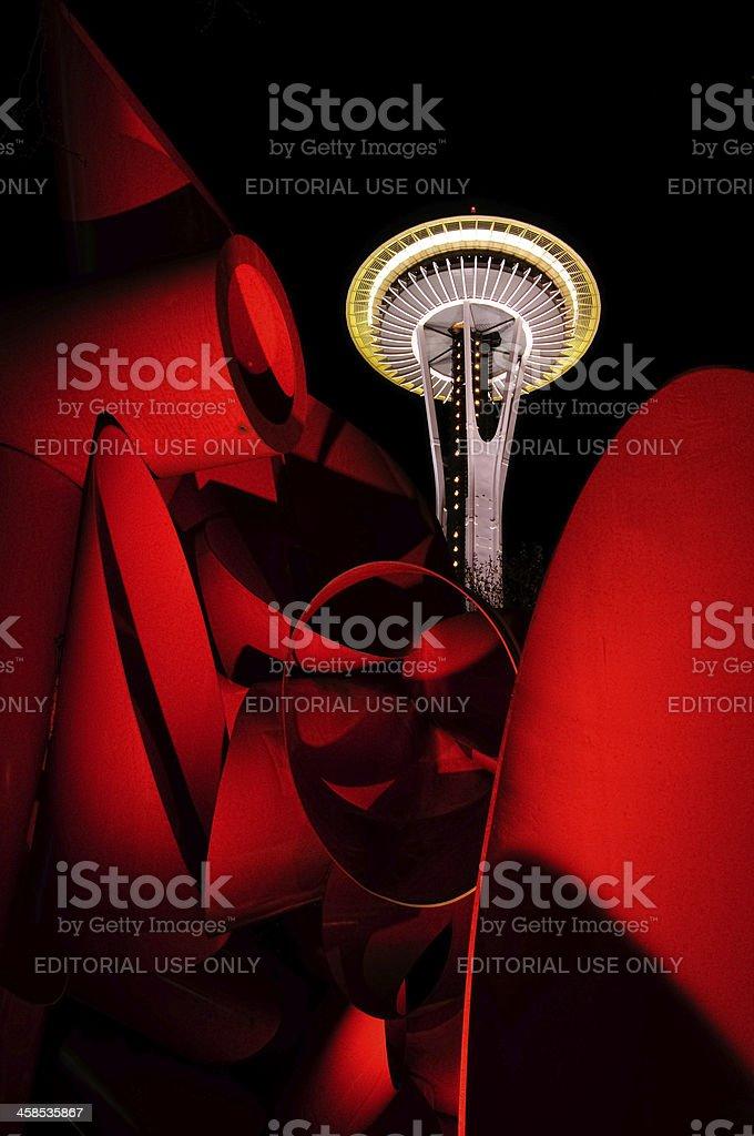 Illuminated Seattle Space Needle just after dark stock photo