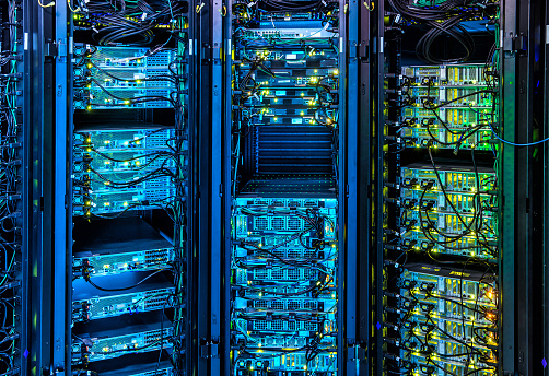 Illuminated Server Room Stock Photo - Download Image Now