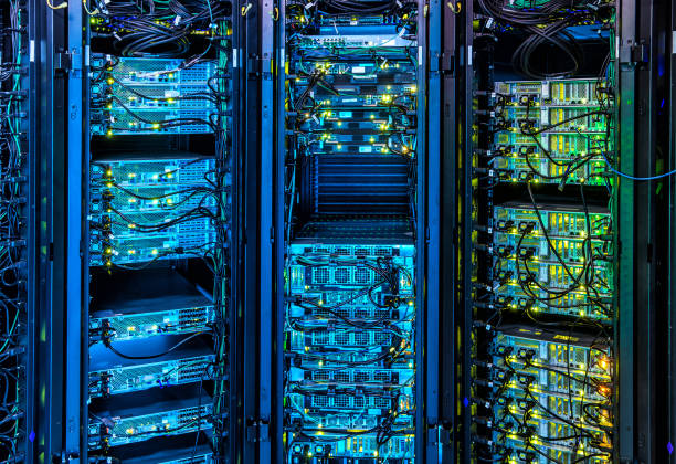 illuminated server room - network server stock pictures, royalty-free photos & images