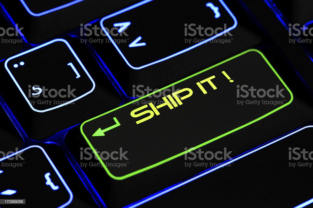 Illuminated Ship it Keyboard Key royalty-free stock photo