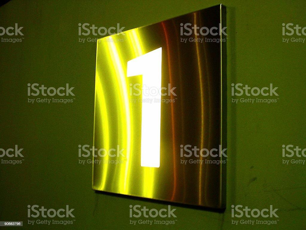#1 illuminated sign at night royalty-free stock photo