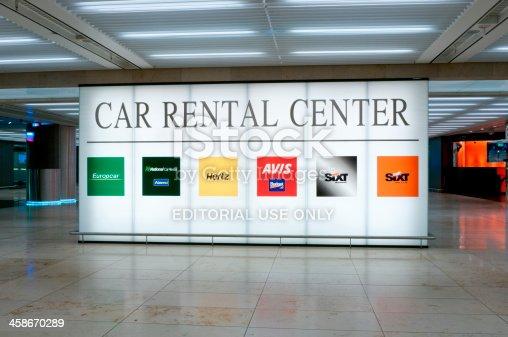 Illuminated Sign Of The Car Rental Center At Frankfurt