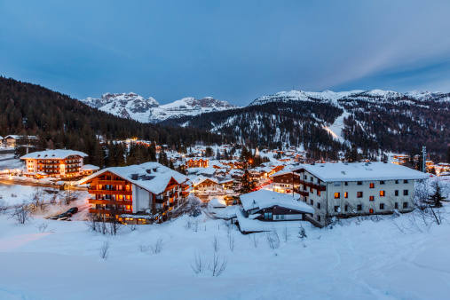 Illuminated Ski Resort of Madonna di Campiglio in the Evening