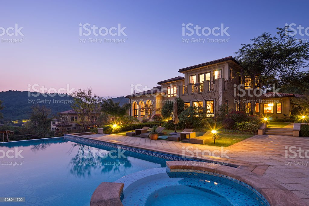 illuminated sky and outside of waterfront buiding royalty-free stock photo