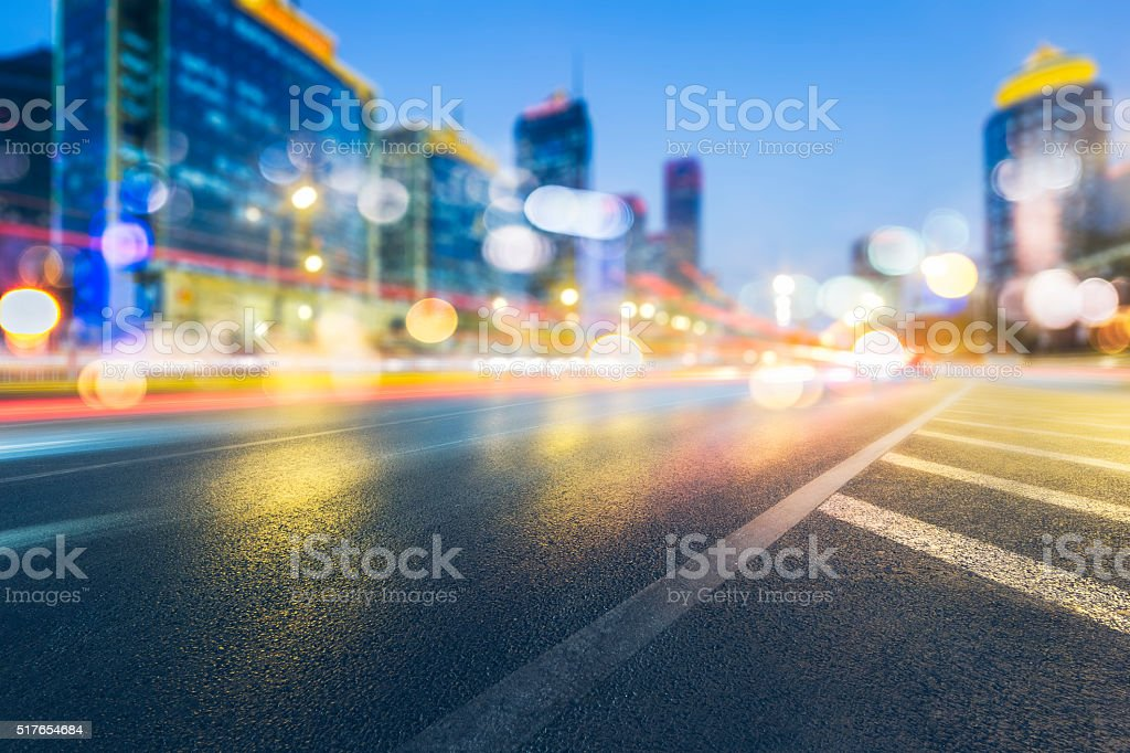 Illuminated Skyscrapers and City Streets in Beijing stock photo