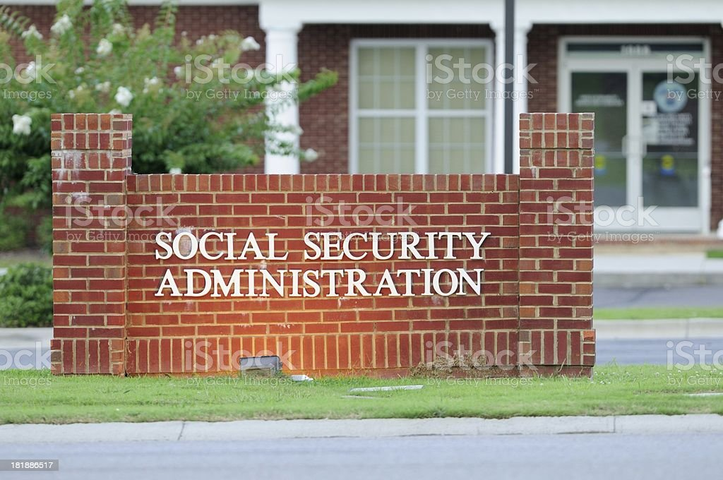 Illuminated social security administration sign stock photo