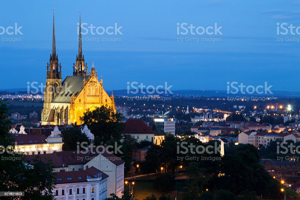 Illuminated St. Peter and Paul Cathedral at night, Brno stock photo