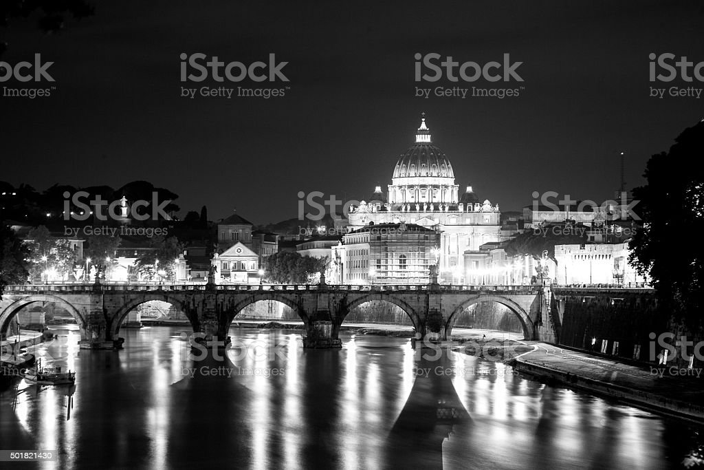 Illuminated St. Peter's cathedral in Rome black and white stock photo