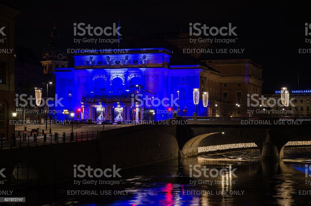 Illuminated Stockholm Royal Opera House stock photo
