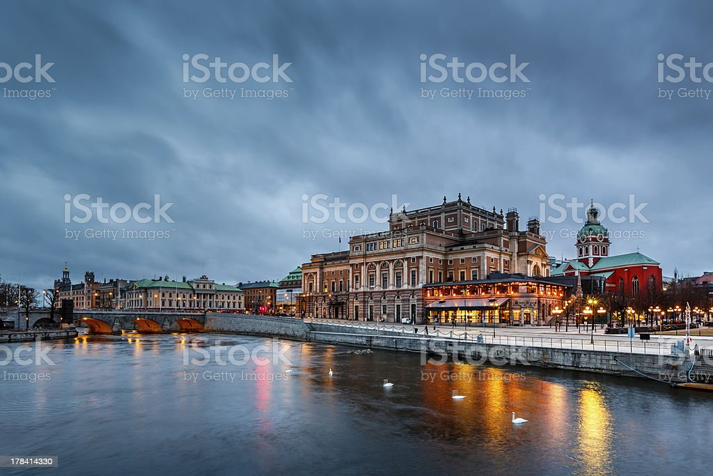 Illuminated Stockholm Royal Opera in the Evening, Sweden stock photo