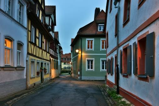 Illuminated street of gerrman town Bamberg.