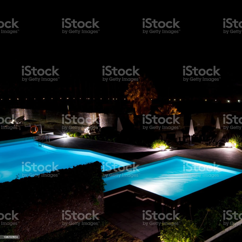 Illuminated Swimming Pool royalty-free stock photo