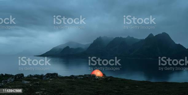 Photo of Illuminated tent at the lofoten islands