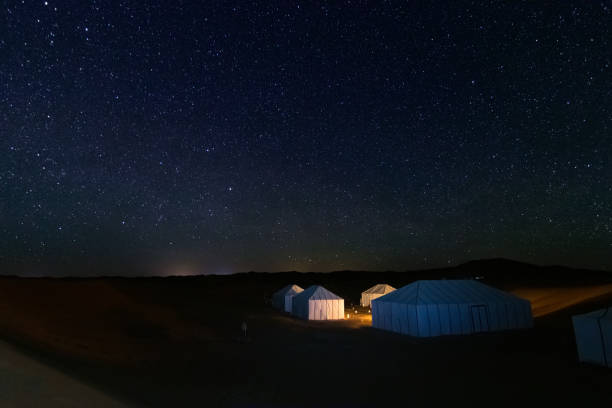 Illuminated tents from a camp in the Erg Chebbi desert in Merzouga, under a spectacular starry sky in Morocco stock photo