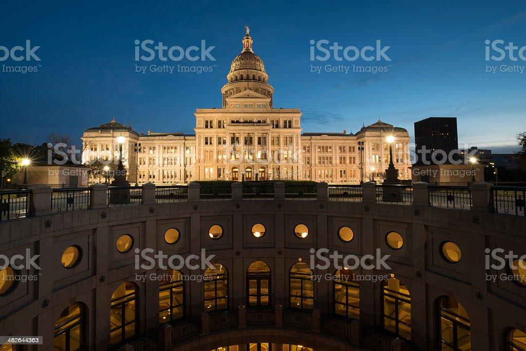 Illuminated Texas State Capitol royalty-free stock photo