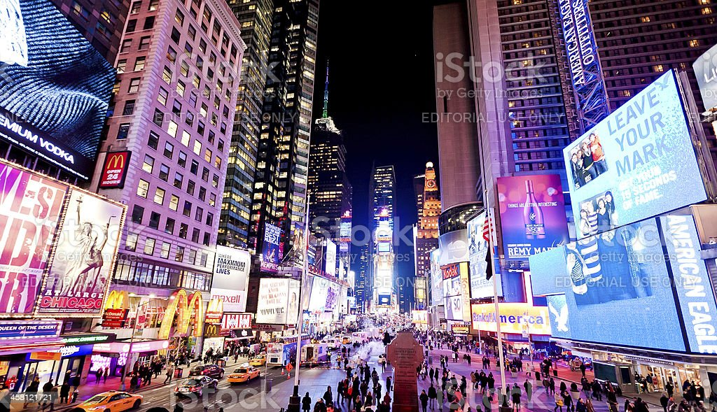 Illuminated Times Square at evening royalty-free stock photo