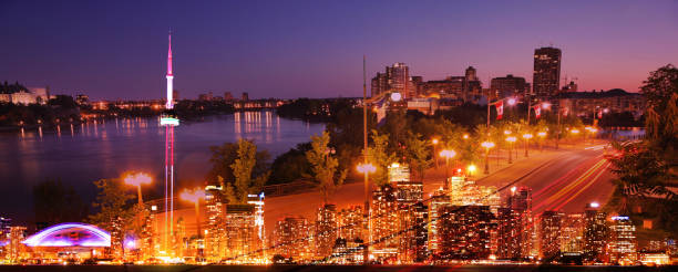 Illuminated Toronto City Skyline stock photo