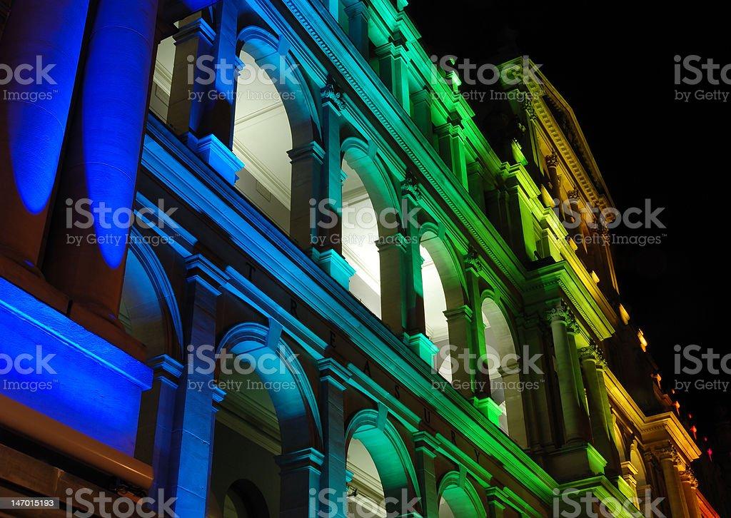 Illuminated Treasury Building in Brisbane royalty-free stock photo